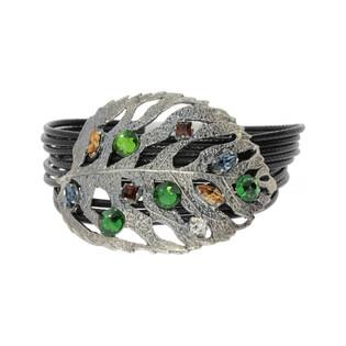 Bransoleta BRILAS BOHO z kryształami Swarovski KP 05345 Mix Crystal-sznurek cz. próba 925
