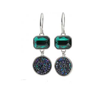 Kolczyki BRILAS UNIQUE z kryształem Swarovski/bigiel zam. KP 05529 Metalic Blue+Emerald próba 925