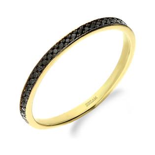 Pierścionek czarne bryl 0,11ct 1r DI 409 próba 585