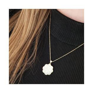 Naszyjnik złoty rozeta z masą perłową+cyrkonia/rolo LP 68EK70-N308MOP-CZ próba 585