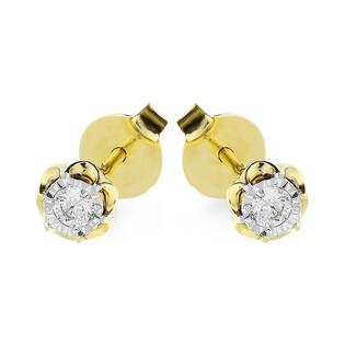 Kolczyki złote FLOWER z diamentem nr KU 36580 Au 585 Sezam - 1
